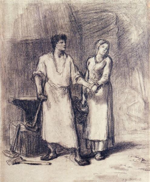 The Blacksmith and His Bride, c.1847 - 1848 - Jean-Francois Millet