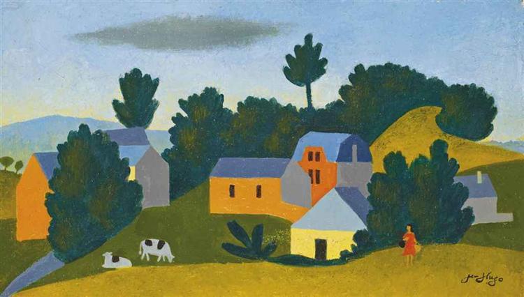 Les deux vaches et la paysanne, 1970 - Jean Hugo