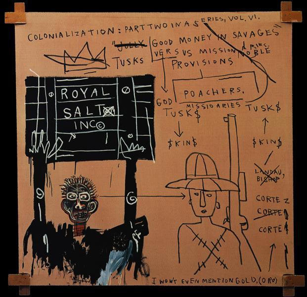 Native Carrying Some Guns, Bibles, Amorites on Safari, 1982 - Jean-Michel Basquiat