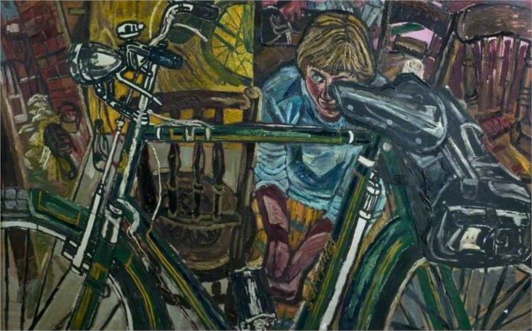 Jean with a Bicycle - John Bratby
