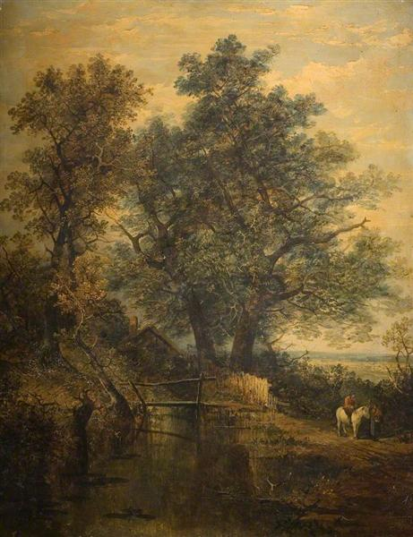 A Stream, Bridge, Trees and Two Figures in a Landscape - John Crome