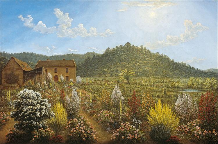 A view of the artist's house and garden, in Mills Plains, Van Diemen's Land - John Glover