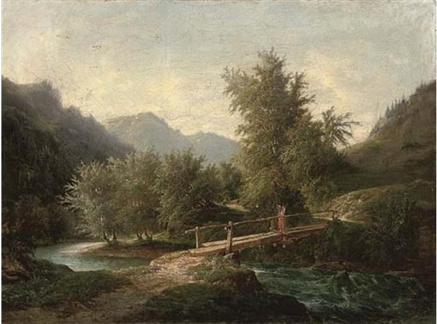 A mountainous wooded river landscape with a figure crossing a bridge - John O'Connor