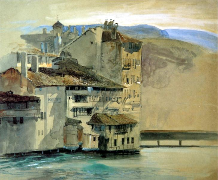 Old Houses on the Rhône Island, Geneva, 1863 - John Ruskin