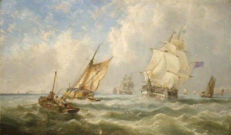 A Breezy Evening off the Mouth of the Mersey, 1841 - John Wilson Carmichael