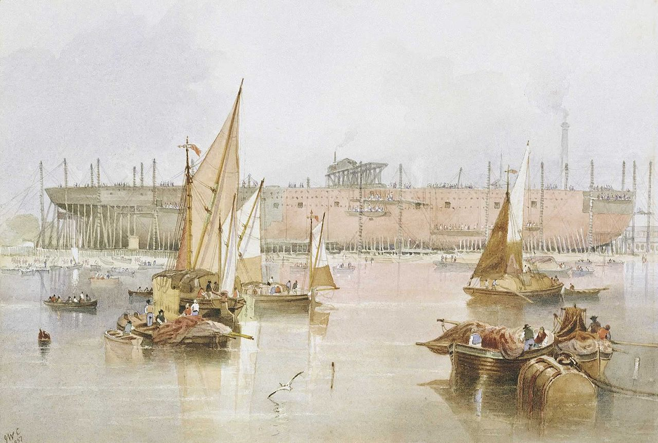 The building of the SS 'Great Eastern', 1857