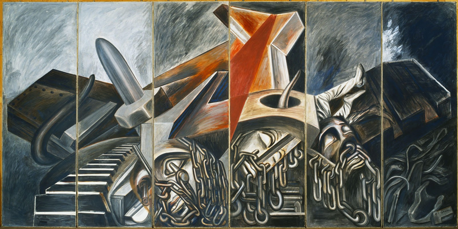 Dive Bomber and Tank, 1940 - Jose Clemente Orozco - WikiArt.org