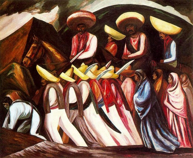 Zapatista 39 s marching 1931 jose clemente orozco for Mural zapatista