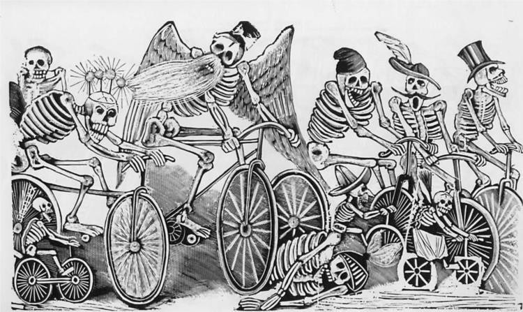 Bikes [Skeletons (calaveras) riding bicycles], c.1900 - José Guadalupe Posada