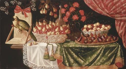 Pears and marasca cherries in a basket - Josefa de Óbidos