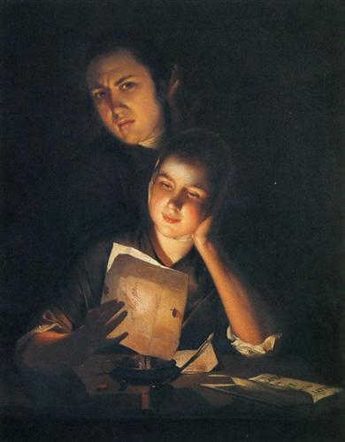 A Girl reading a letter by Candlelight, with a Young Man peering over her shoulder