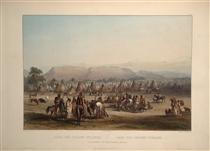 Encampment of the Piekann Indians, plate 43 from Volume 2 of 'Travels in the Interior of North America' - Karl Bodmer