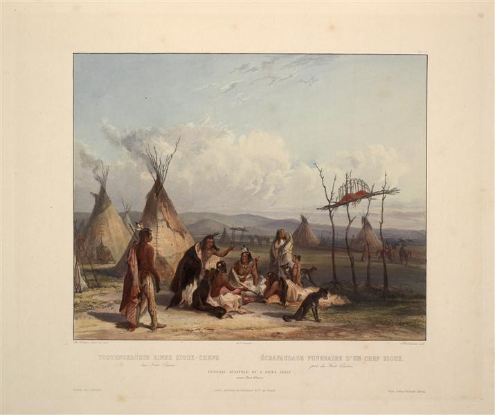 Funeral Scaffold of a Sioux Chief near Fort Pierre, plate 11 from Volume 2 of 'Travels in the Interior of North America', 1844 - Karl Bodmer