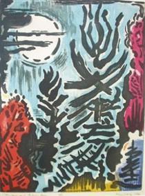 Treetops & Autumn Moon - Karl Schrag