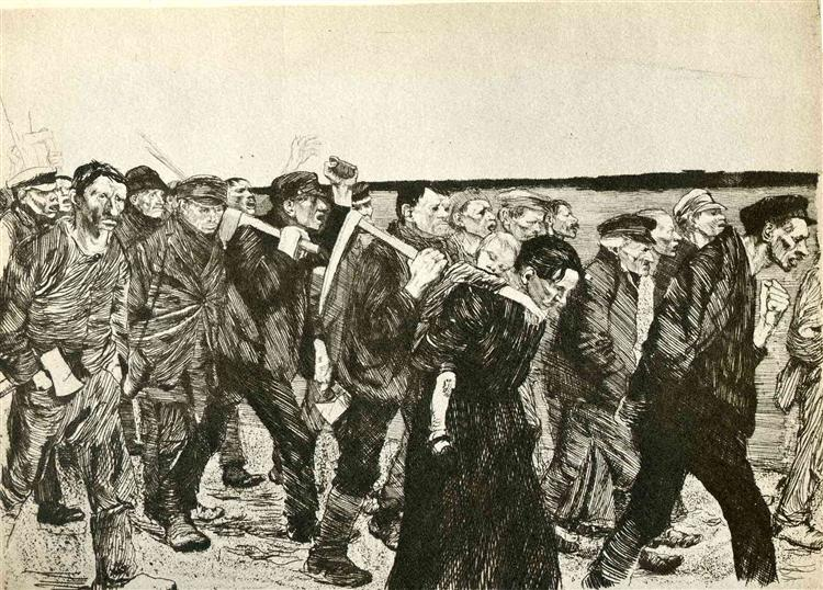 The March of the Weavers in Berlin, 1897 - Kathe Kollwitz