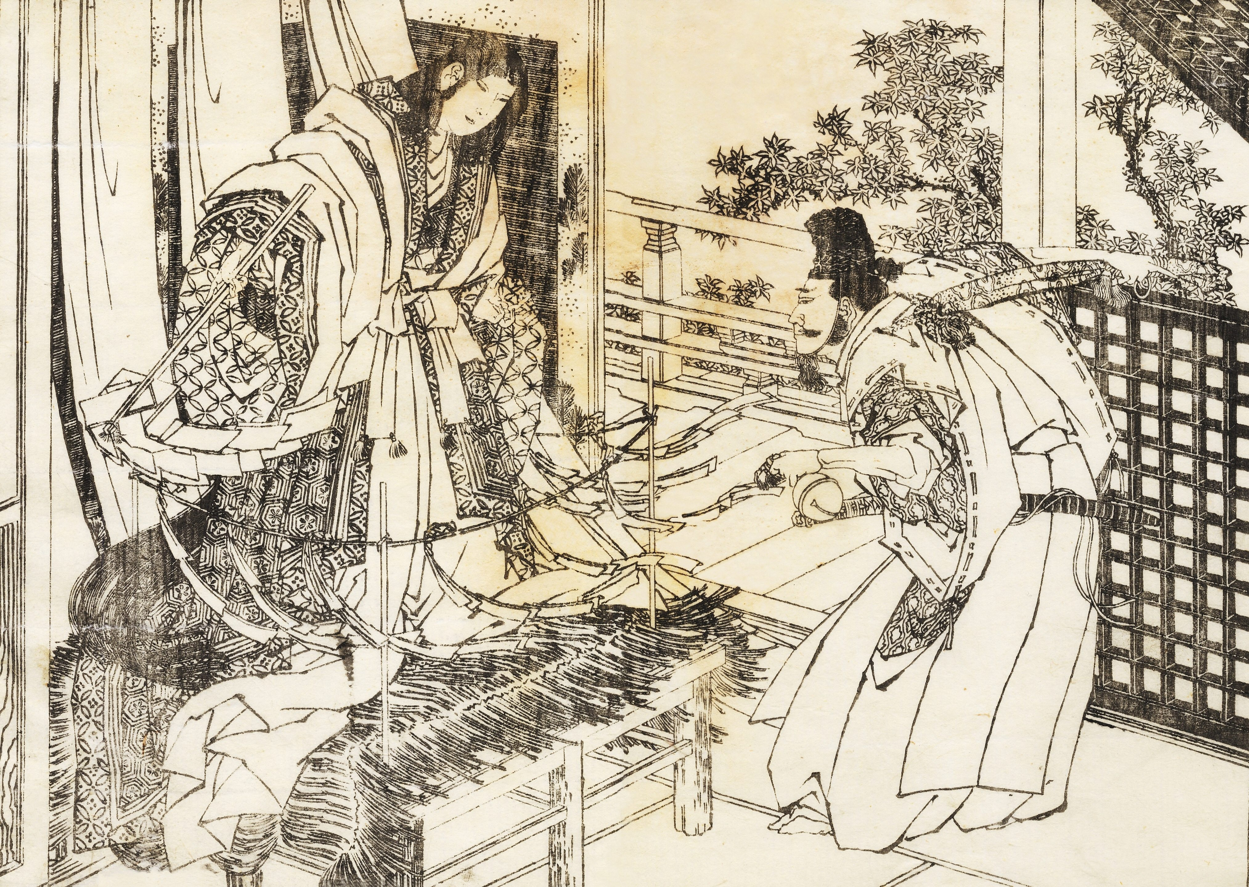 Shinto Shrine Drawing a Woman in Shinto Shrine Has a