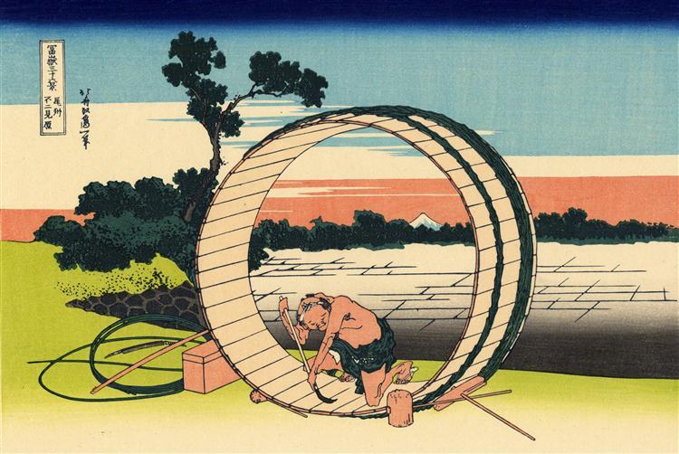 Fujimi Fuji view field in the Owari province - Katsushika Hokusai
