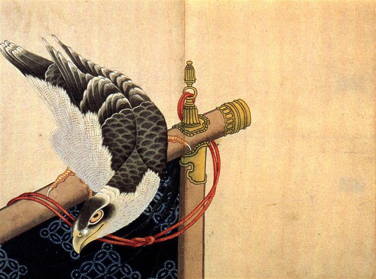 Hawk on a ceremonial stand - Katsushika Hokusai