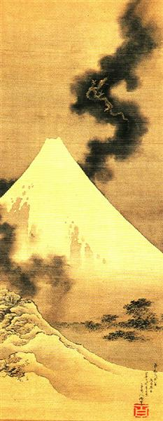 The Dragon of Smoke Escaping from Mount Fuji - Katsushika Hokusai