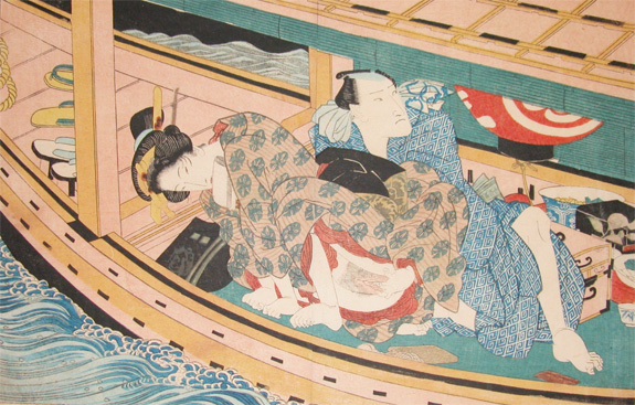 Dinner and Love on the River, 1840 - Keisai Eisen