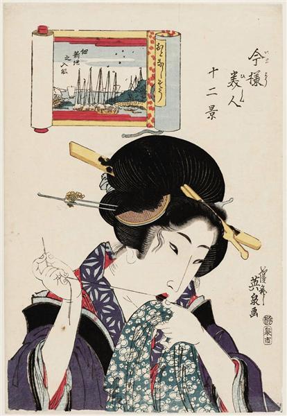 (Otonashisô, Tsukuda Shinchi no irifune), from the series Twelve Views of Modern Beauties (Imayô bijin jûni kei) - Keisai Eisen