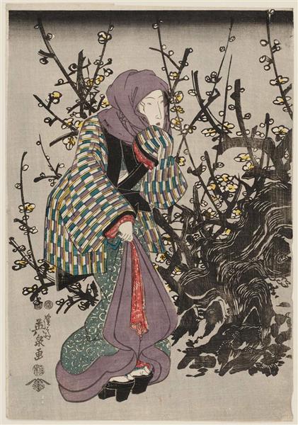 Woman by Plum Tree at Night, 1847 - Keisai Eisen
