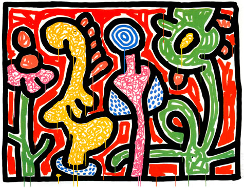 Flowers IV, 1990 - Keith Haring