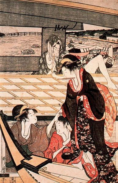A scene on the bridge, c.1797 - Kitagawa Utamaro
