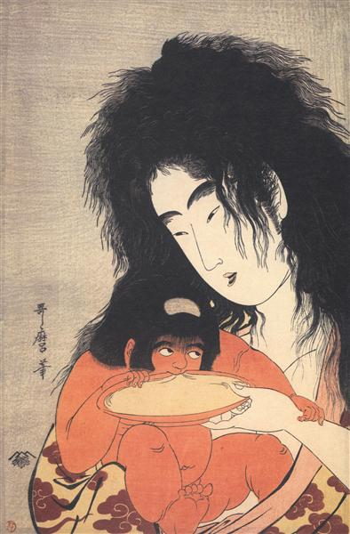 Yamanba and kintaro sakazuki - Kitagawa Utamaro