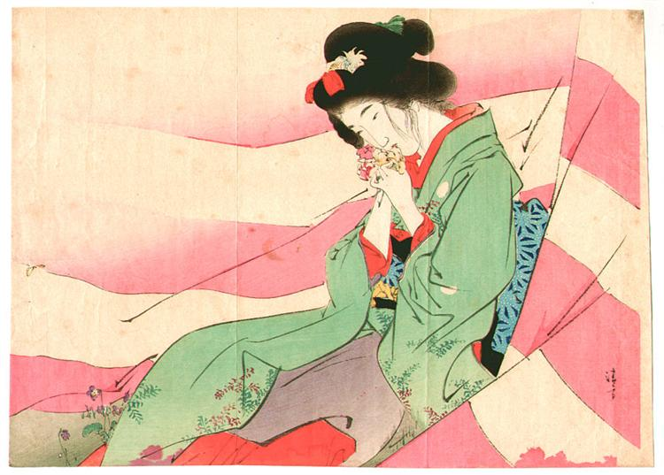 Bijin in pink and white curtain, 1903 - Киёката Кабураги