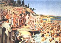 The Baptism of Kievans - Klavdi Lébedev