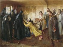 Tzar Ivan the Terrible asks Abbot Cornelius to mow him to the monks - Klavdi Lébedev