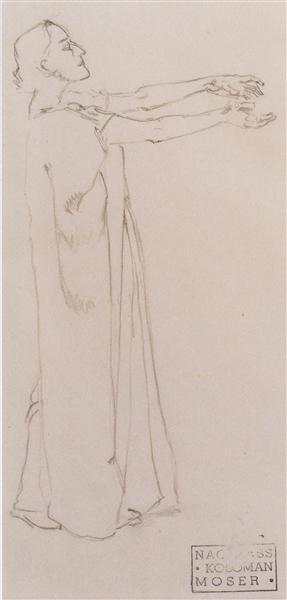 Figure study of Isolde, c.1915 - Koloman Moser