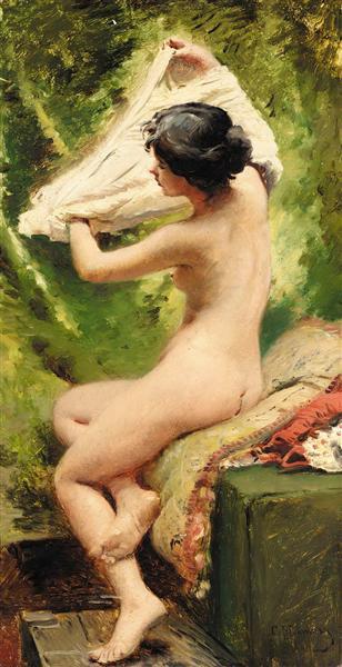 Beauty preparing to bathe - Konstantin Makovsky