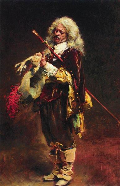 Chevalier, arraying gloves, c.1890 - Konstantin Makovsky