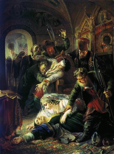 Dmitrithe Pretender'sagentsmurder theSonof Boris Godunov, 1862 - Konstantin Makovsky