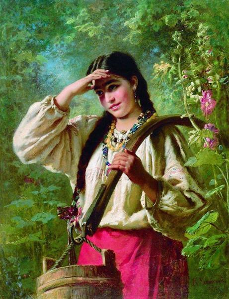 Girl with a yoke, 1874 - Konstantin Makovsky