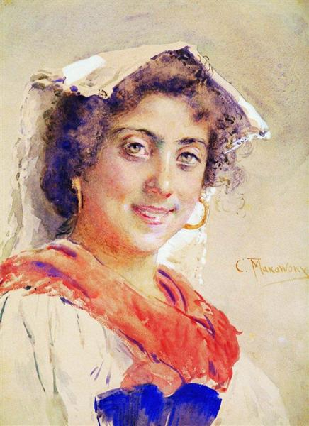Итальянка, c.1890 - Константин Маковский