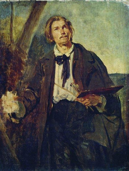 Portrait of Artist Alexander Popov, c.1850 - Konstantin Makovsky