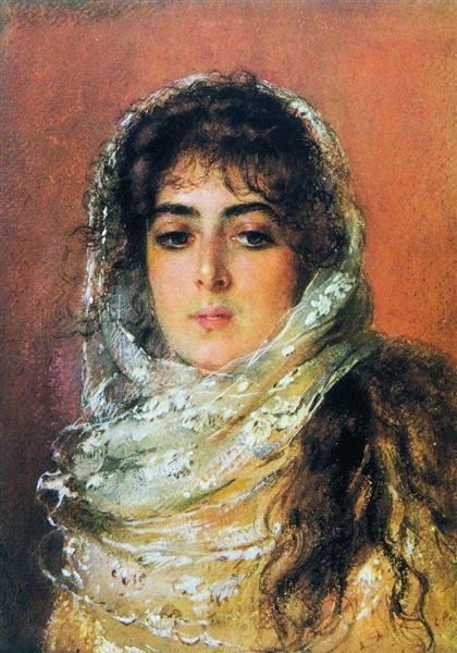 Портрет жены художника Ю.П.Маковской, 1887 - Константин Маковский