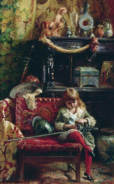 Portrait of the Son in Workshop (Small Antique Dealer), 1882 - Konstantin Makovsky