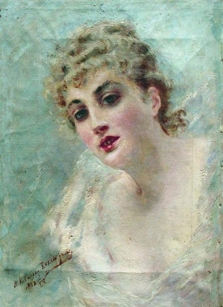 Woman Head (Portrait of E.Kovaliova), 1892 - Konstantin Makovsky