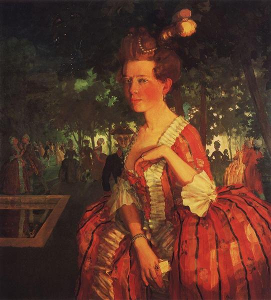 A Young Girl in a Red Dress (Girl with a Letter), 1912 - Konstantin Somov