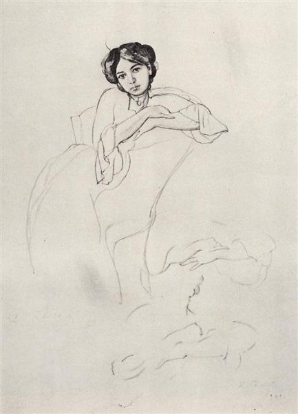 Female Portrait and Sketches of Hands, 1902 - Konstantin Somov