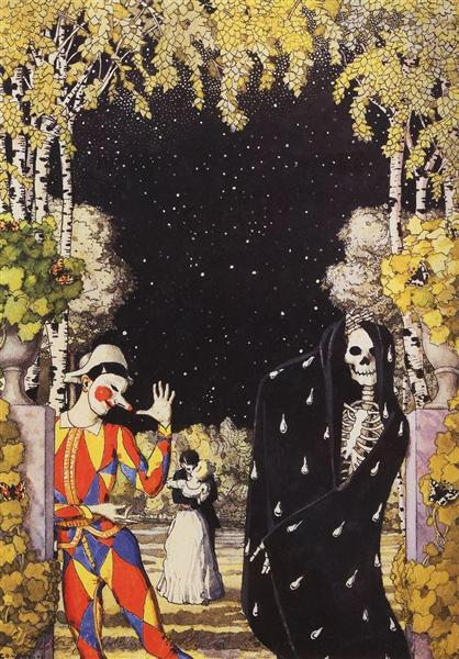 Harlequin and Death, 1907 - Konstantín Sómov