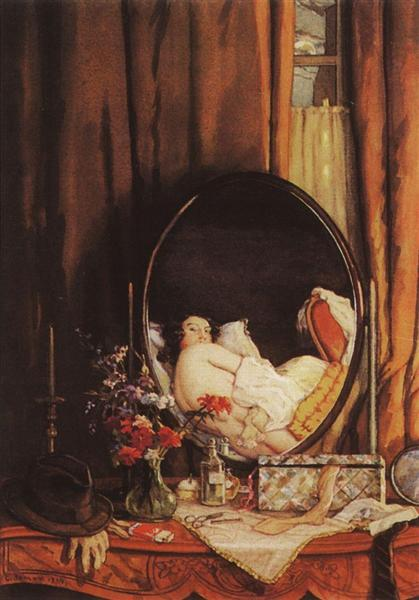 Intimate Reflection in the Mirror on the Dressing Table, 1934 - Konstantin Somov