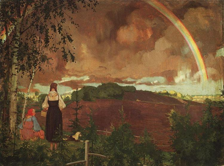 Landscape with Two Peasant Girls and a Rainbow, 1918 - Konstantin Somov