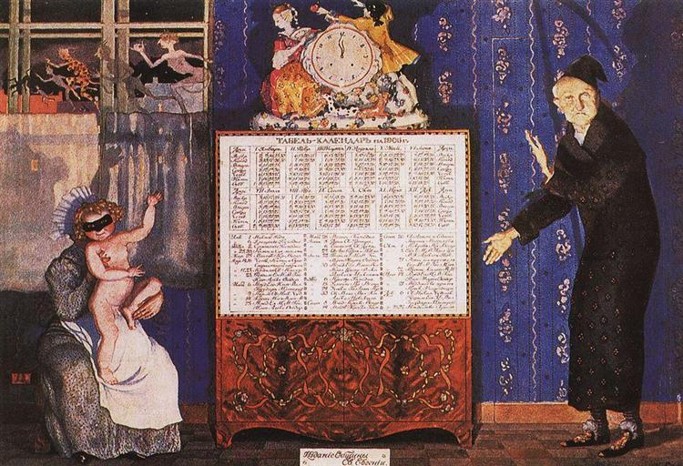 Old and New Year. Cover-Table Calendar for 1905, 1904 - Konstantin Somov