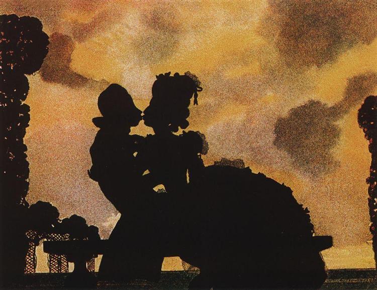 The Kiss (Silhouette), 1906 - Konstantín Sómov