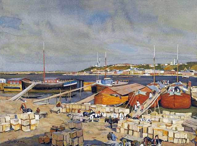 On The Volga - Konstantin Yuon
